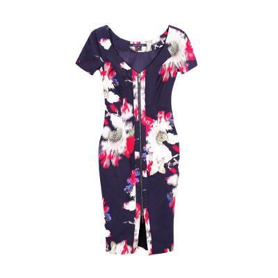 v neck zipper flower pattern midi dress multi